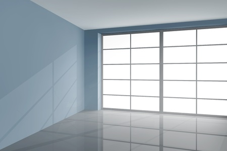 warehouse interior: Large window front in a grey modern room