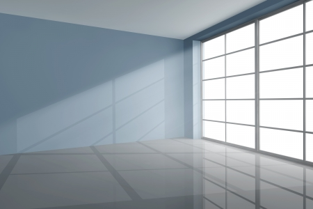panes: Empty room in grey with large window Stock Photo