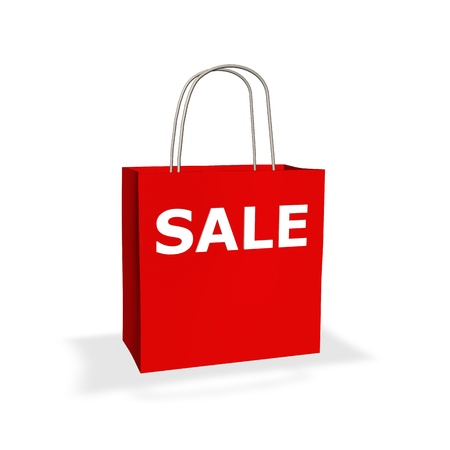 3d render of a red recyclable paper shopping bag with handles and white SALE text on the outside on a white background Stock Photo - 21287019