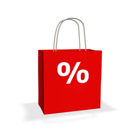 markdown: Red shopping bag with percentage sign on white