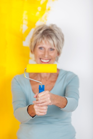 Active mature woman paints her appartment yellow Stock Photo - 21341250