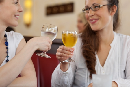 Two female friends toasting each other with chilled drinks in a restaurant smiling as they celebrate together photo