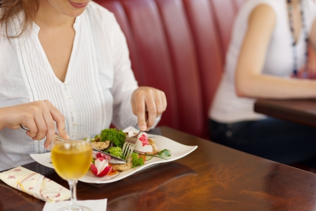 Woman eating a plate of fresh healthy salad in the bistro, close up view of the food and her hands Stock Photo - 21375209