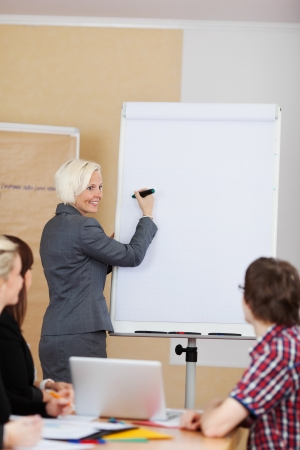 Smiling woman doing a presentation standing at a flipchart with her hand and marker raised to the blank sheet of paper as she turns to smile at her colleagues in the meeting photo
