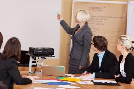 Uitbaatster geven van een briefing met behulp van een projector om een groep van zakelijke collega's zitten rond een tafel