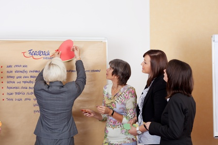 Professional business team having a brainstorming and writing the main ideas on a paperboard, in the office photo