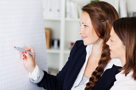 Two attractive young businesswomen standing discussing a flip chart pointing to it with a marker pen photo