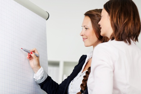 Two female office colleagues attending a seminar standing in front of a blank white flip chart having a discussion and writing with a red marker photo