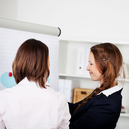 flip chart: Image of two female workers brainstorming on a project.