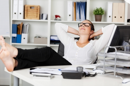 relaxed woman: Portrait of a businesswoman during the siesta