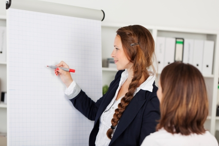 Attractive young competent businesswoman using a blank flip chart for a presentation watched by a female colleague photo