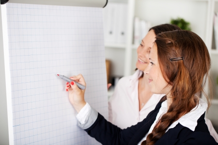 Two attractive female usiness colleagues attending a seminar standing in front of a blank flip chart having a discussion and drawing on the paper with a marker photo