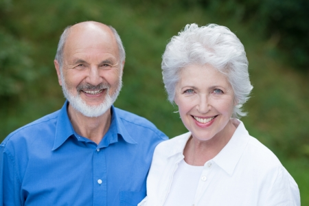Horizontal portrait of a Caucasian senior couple happy together, wearing casual clothes photo