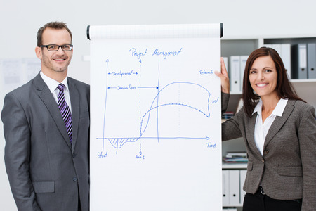 Confident business team giving a presentation with a stylish young man and woman standing on either side of a flipchart with diagrams as they present their business plan photo