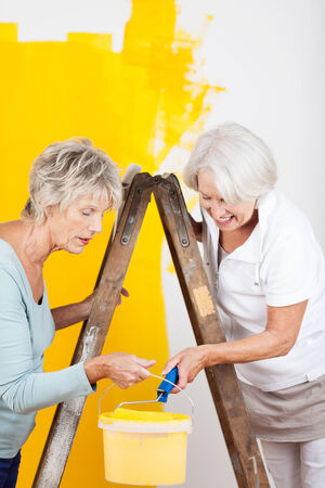 Two senior friends doing interior decorating with both women leaning over a bucket of paint as they modernise the decor with bright yellow paint photo