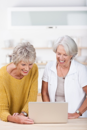 surfing the internet: Two attractive senior woman sharing a laptop smiling in amusement as they read something on the screen Stock Photo