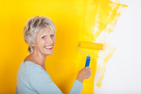 competent: Competent attractive senior woman painting a wall in her house smiling in satisfaction at the new bright yellow colour