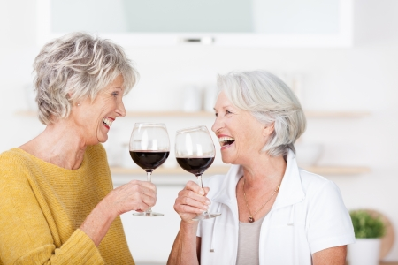 Two senior ladies celebrating with red wine standing toasting each other with their glasses and laughing in excitement photo
