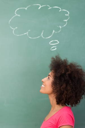 adult classroom: Young African American woman seeking inspiration standing looking up into the air with a smile below a thought bubble drawn on a green blackboard