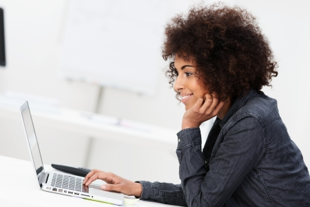 Side view of a young African American businesswoman with an afro hairstyle using a laptop computer sitting concentrating on information on the screen