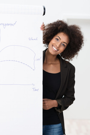 Smiling confident young African American businesswoman with an afro hairstyle giving a presentation or lecture standing alongside a flipchart smiling at the camera photo