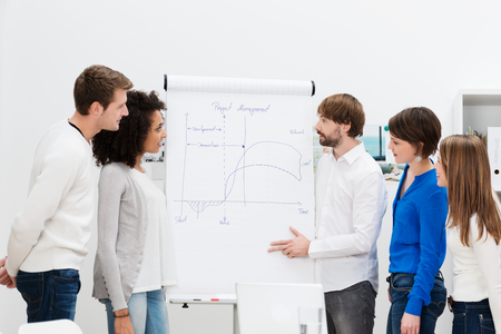 Team leader giving a presentation to his business team standing at a flipchart outlining the new project Stock Photo - 25641567