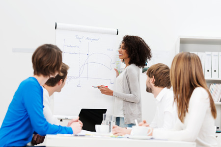 African American businesswoman giving a presentation to her colleagues at work as they plan a new business strategy together Фото со стока