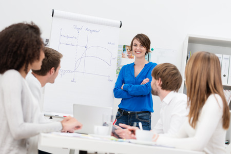 Attractive confident female in house corporate trainer giving a presentation to a group of businesspeople using a flipchart photo
