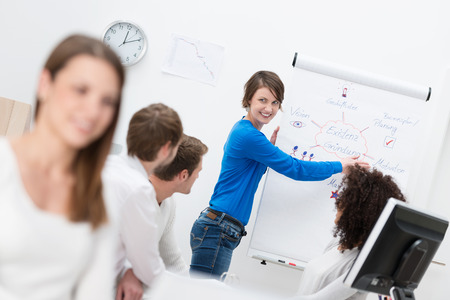 Businesswoman giving a motivational presentation to her work colleagues using a flipchart in a conference room photo