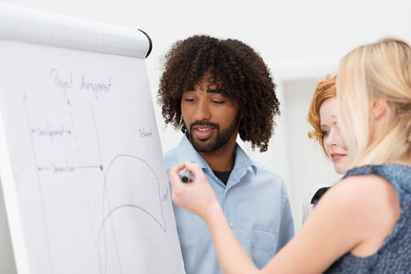 flip chart: Young female team leader giving a presentation watched by a female colleague and young hip African American co-worker