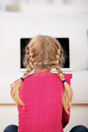 blond little girl with pigtails looking at laptop photo