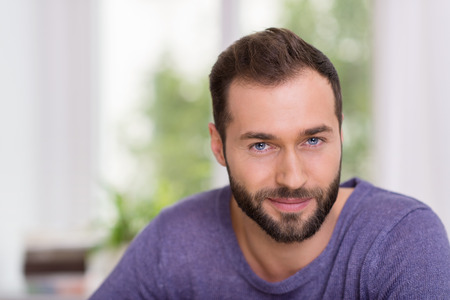 Portrait of an attractive bearded mature man sitting in front of a window smiling at the camera, head and shoulders close up Archivio Fotografico