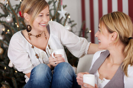 two girlfriends on christmas are happy together photo