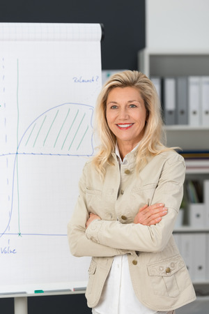 experienced: Close up Confident Smiling Adult Corporate Woman Standing Beside the White Board with Graph Drawing at her Office.