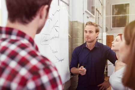 people skills: Handsome Young Male Leader of the Group Discussing a Project Plan to Colleagues at the White Board.