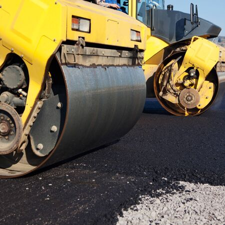 undeveloped: Closeup of road roller on street Stock Photo