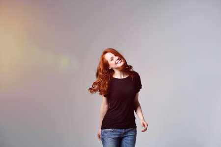 red haired woman: Cute Red Haired Woman Stock Photo