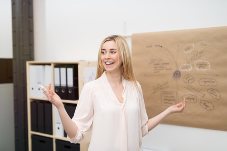 on the job training: Happy Blond Girl Explaining the Concept Map on a Brown Poster to the Group Inside the Office. Stock Photo