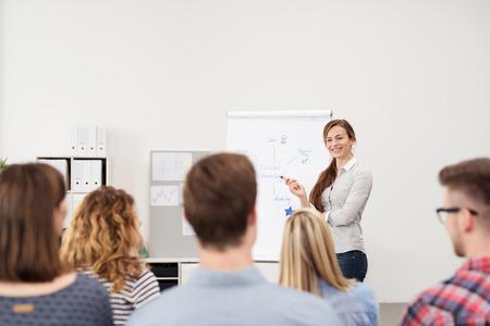 lideres: Feliz Mujer Team Leader discutir algunos asuntos de negocios con un cartel de papel al Grupo dentro de la oficina. Foto de archivo