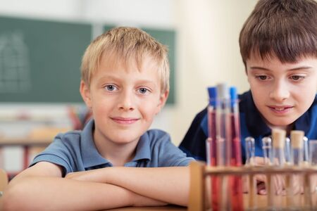 they are watching: Smiling young schoolboy learning chemistry at school with a friend as they sit at a desk watching a chemical reaction in test tubes Stock Photo