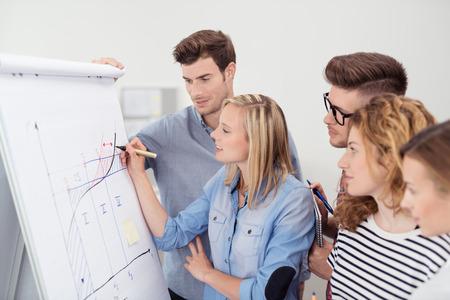Cinq jeunes gens d'affaires Faire une Conceptual Business Graph sur un Papier poster ensemble à l'intérieur du bureau.