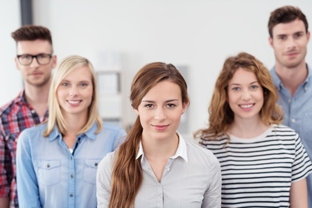 looking to camera: Group of Five Young Professional Office Workers with Female Leader, Looking at the Camera
