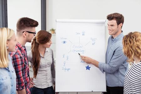 lider: Hombre Jefe de Equipo Explicando un diagrama en un papel cartel de Colegas mientras que haciendo una Reuni�n Interior de la Oficina Foto de archivo