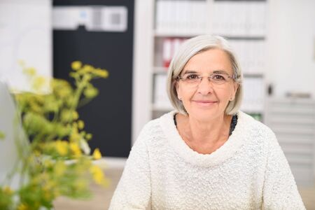 untroubled: Gray-Haired Middle Aged Office Woman at her Workplace, Smiling at the Camera. Stock Photo