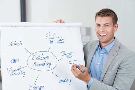 executive courses: Happy Good Looking Young Businessman Showing a Conceptual Diagram on White Poster and Smiling at the Camera. Stock Photo