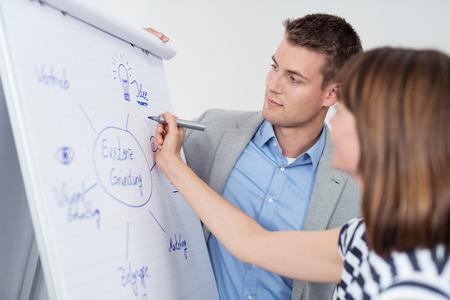조직: 흰색 포스터 용지에 개념도를 만드는 브레인 스토밍 세션에서 두 젊은 기업인.