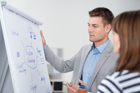 Handsome Young Businessman Brainstorming with his Female Colleague Using a Conceptual Diagram on White Poster