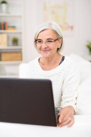 gray haired: Gray Haired Senior Woman Using her Laptop Computer at the Living Room Couch with Happy Facial Expression. Stock Photo