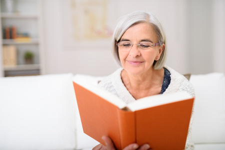 gray haired: Gray Haired Senior Woman Reading her Favorite Book at the Living Room Couch with Happy Facial Expression. Stock Photo