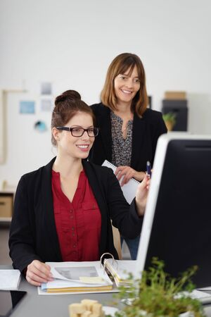 competent: two competent businesswoman working together in a project Stock Photo